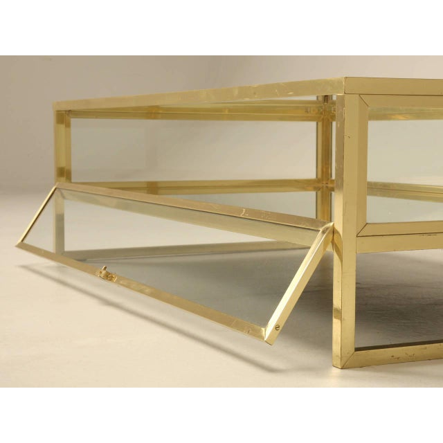 Mid Century Modern French Brass Glass Display Coffee Table Chairish