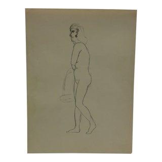 "Vintage Original Drawing on Paper, ""Walking"" by Tom Sturges Jr., Circa 1945 For Sale"