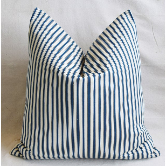 """French Blue & White Feather/Down Ticking Striped Pillows 23"""" Square - Pair For Sale - Image 10 of 13"""