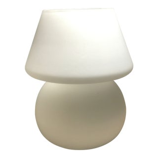 1970s Italian White Glass Hand Blown Mushroom Lamp For Sale