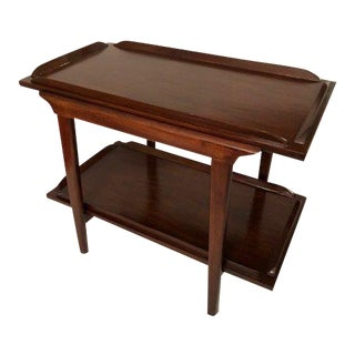 Mid-Century Walnut End Table/Coffee Table With Bottom Shelf For Sale