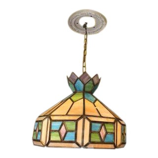 Mid-Century Tiffany Style Blue & Green Stained Glass Hanging Chandelier For Sale