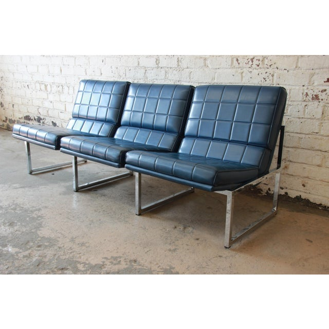 An outstanding 1970s three-seat sofa by Chromcraft. Very much in the style of iconic designer Milo Baughman, with a chrome...