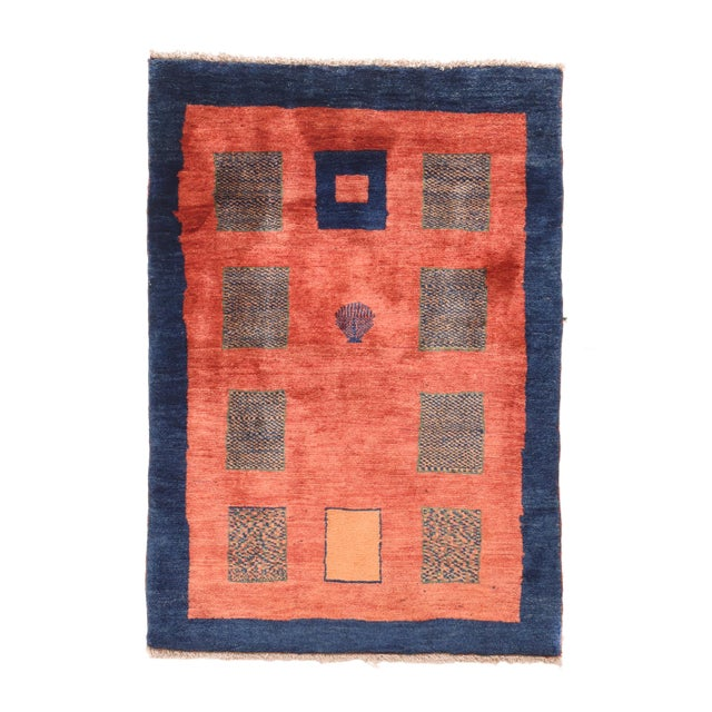 """1970s 1970's Vintage Gabbeh Shiraz Persian Rug-3'3"""" X 4'8"""" For Sale - Image 5 of 5"""