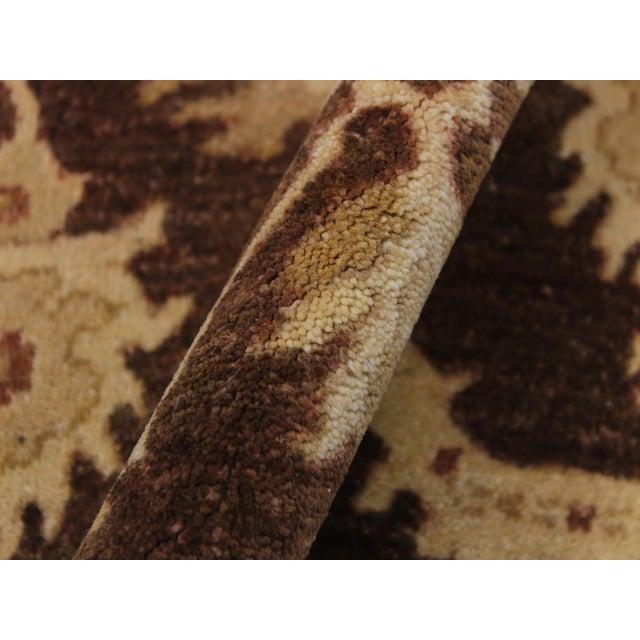 1990s Vintage Nobuko Brown/Tan Hand-Knotted Wool Rug - 2′6″ × 9′8″ For Sale - Image 4 of 8