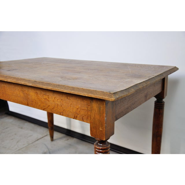Vintage French Oak Farmhouse Dining Table For Sale - Image 11 of 12