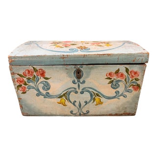 19th Century Cottage Painted Blue and White Trunk For Sale