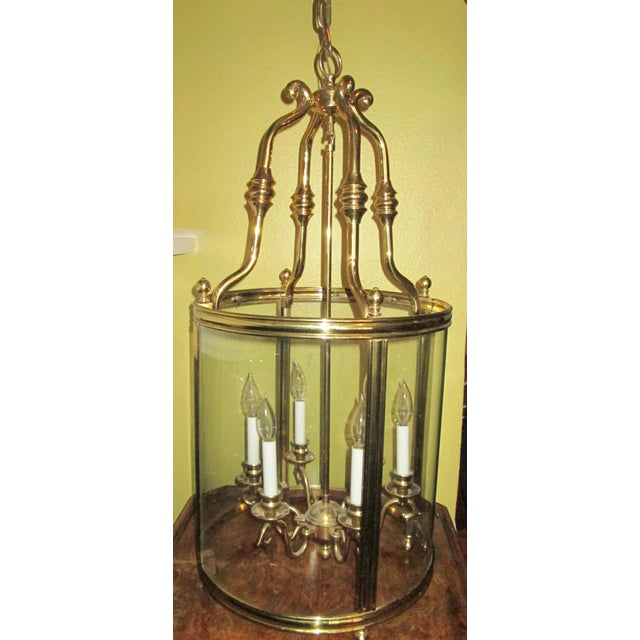 Metal Louis XVI Style Solid Brass Lantern Chandelier For Sale - Image 7 of 7