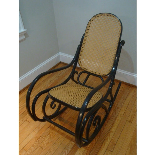 Wood Authentic Black Thonet Bentwood Cane Rocking Chair Rocker Model No. 10 For Sale - Image 7 of 8