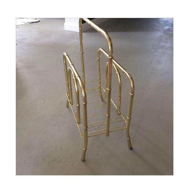 Boho Chic Vintage Brass Bamboo Magazine Holder For Sale - Image 3 of 5