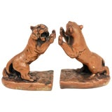 Image of 1920s Vintage Galvano Bronze Roaring Tiger Bookends - a Pair For Sale
