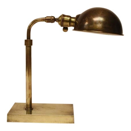Early 20th C. Antique Library Brass Desk Lamp For Sale