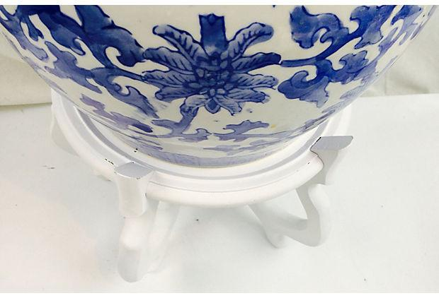 Blue White Chinoiserie Planter With Stand Chairish