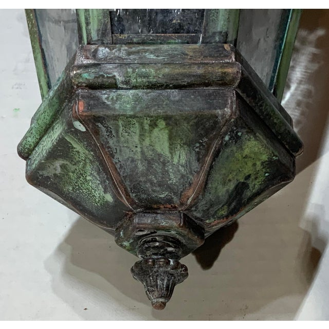 1970s Solid Brass Verdigris Hanging Lantern For Sale - Image 11 of 13