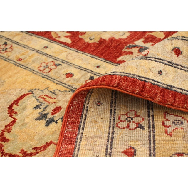 Yellow Hand-Knotted Red Rug For Sale - Image 8 of 9