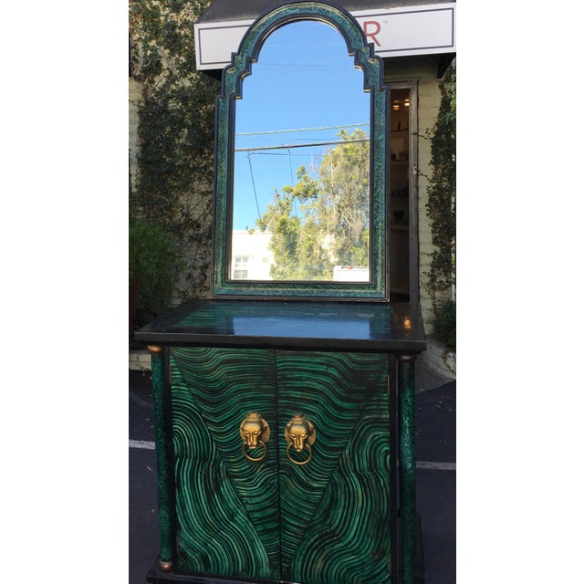 Hollywood Regency Vintage Mid Century Modern Faux Malachite Cabinet & Mirror For Sale - Image 3 of 8