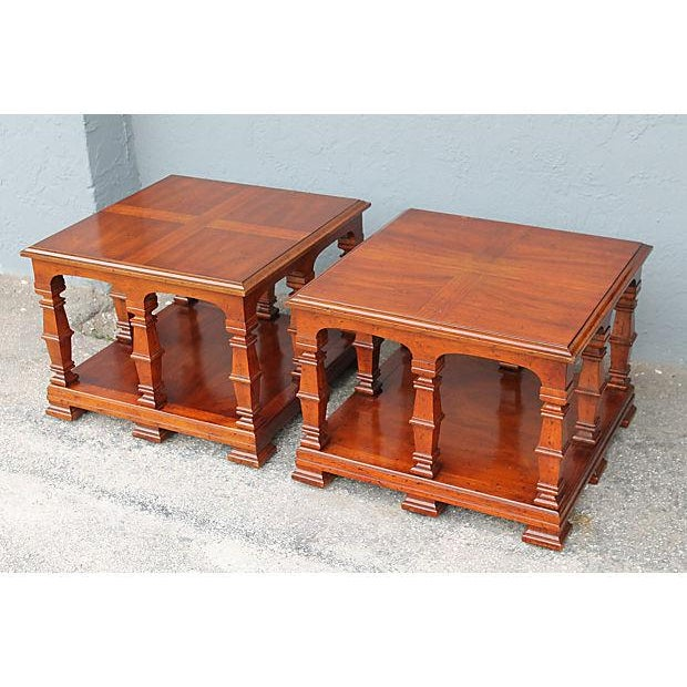Carved & Detailed Wood End Tables - A Pair For Sale - Image 4 of 9