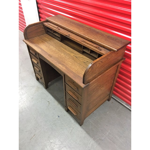 Antique Oak Roll-Top Desk - Image 5 of 9