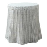 Image of New Round Scalloped and Painted Wicker Side Table For Sale