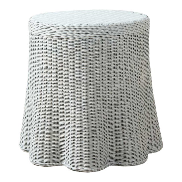 New Round Scalloped and Painted Wicker Side Table For Sale