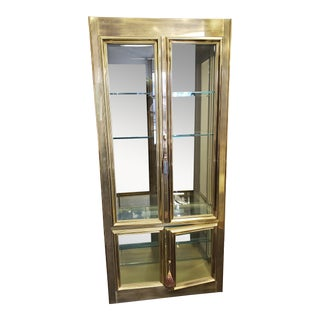 Vintage Drexel Brass & Glass Illuminated Curio Cabinet For Sale