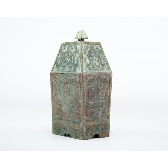 Asian 20th Century Chinese Lawrence & Scott Verdigris Bronze Wine Box For Sale - Image 3 of 9