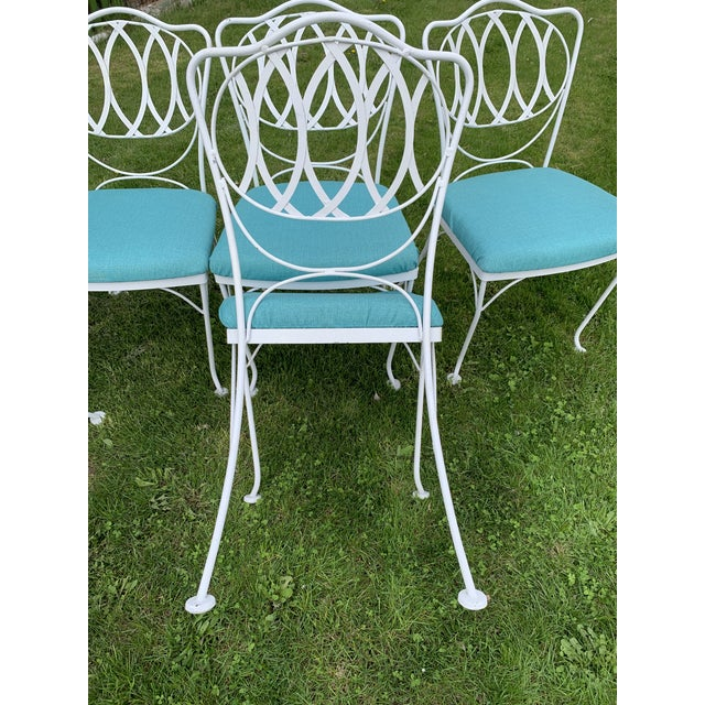 Woodard Furniture Co. Woodard Quality Iron Patio Dining Chairs With Turquoise Upholstered Seats - Set of 6 For Sale - Image 4 of 7