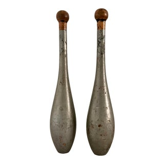 Vintage Painted Indian Juggling Exercise Clubs - a Pair For Sale