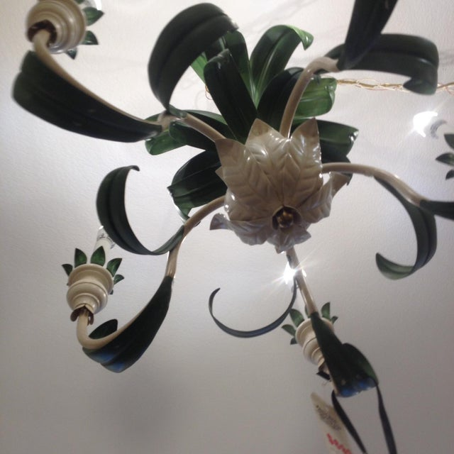 Hand Painted Green French Reproduction Chandelier - Image 9 of 9