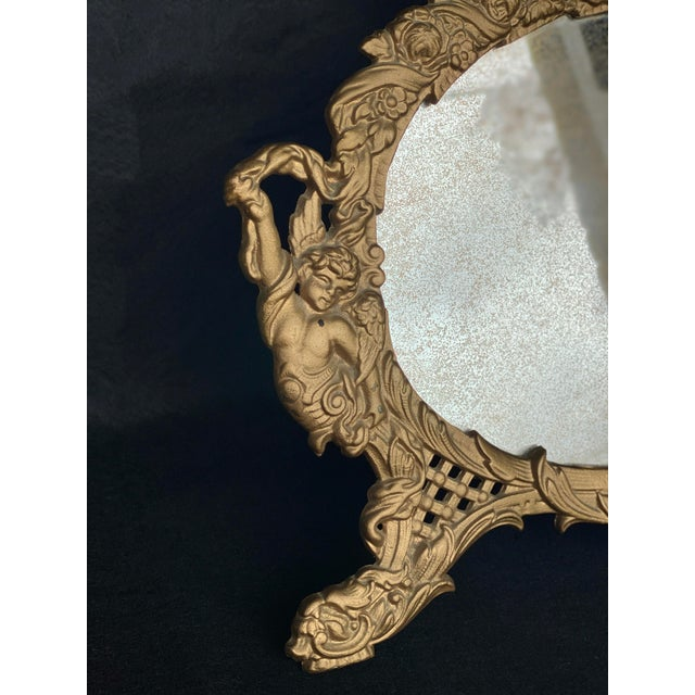 Metal Vintage French Rococo Louis XV Gilded Brass Cherub Motif Oval Table Mirror For Sale - Image 7 of 10