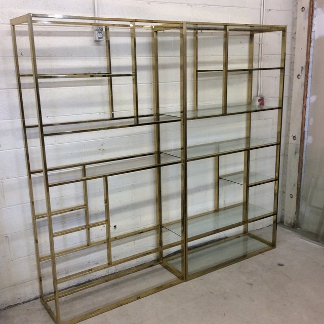 1970s 1970s Brass & Glass Etageres - a Pair For Sale - Image 5 of 11