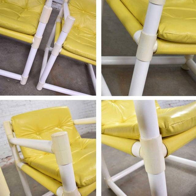 MCM Outdoor Pvc Side Chairs Yellow Vinyl Upholstery by Decorion Fun Furnishings - a Pair For Sale - Image 9 of 11