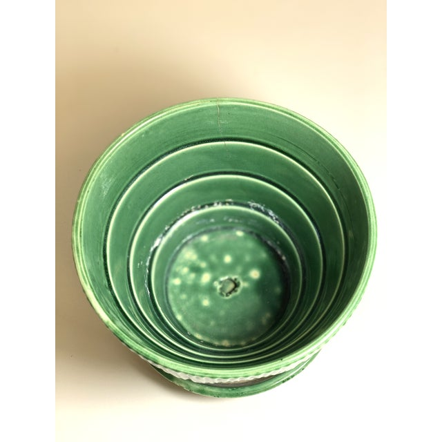 """Ceramic McCoy Pottery 1940s – 1960s Large"""" Green"""" Mid-Century Flowerpot and Saucer For Sale - Image 7 of 10"""