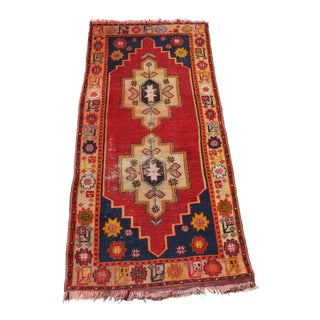 Distressed Antique Turkish Oushak Rug - 3′8″ × 7′7″
