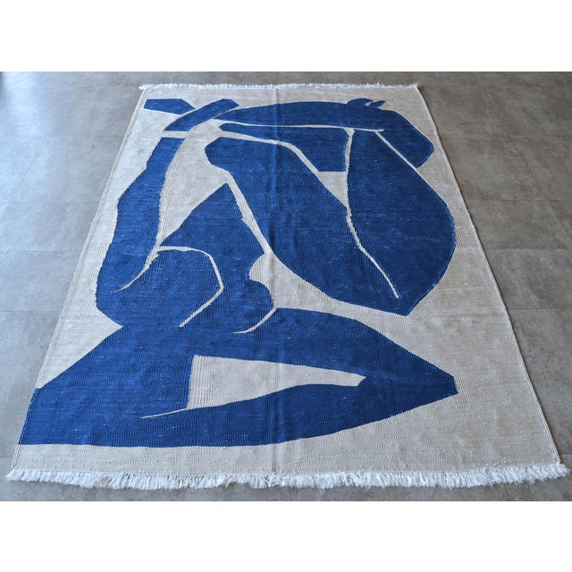 2010s Henri Matisse - Blue Nude 3- Inspired Silk Hand Woven Area - Wall Rug 4′4″ × 6′9″ For Sale - Image 5 of 12