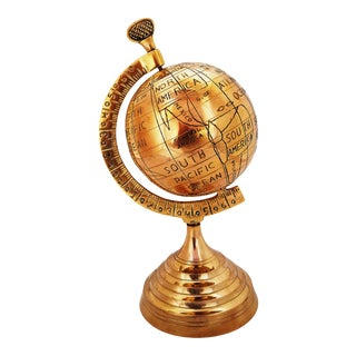 2000s Solid Brass World Map Globe For Sale