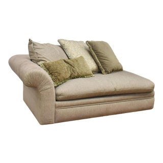A. Rudin Upholstered Chaise Lounge Sofa With Fortuny Throw Pillows - Pair Available For Sale