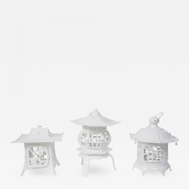 Cast Iron 1960s Trio of White Lacquer Cast Iron Pagodas - Set of 3 For Sale - Image 7 of 7