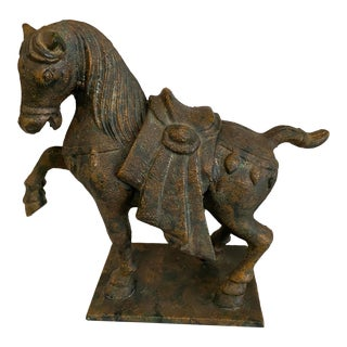Vintage Chinese Cast Iron Tang Horse For Sale