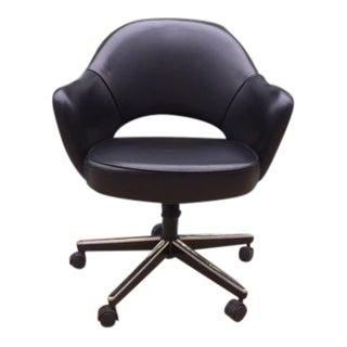 Black Leather Knoll Saarinen Executive Armchair For Sale