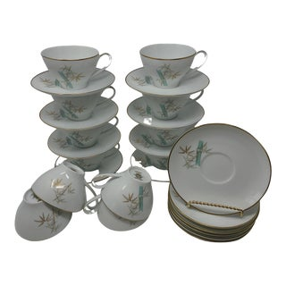 Set of 12 Cup & Saucer Sets Noritake China Oriental 6341 Made in Japan 1960s Vintage Tableware For Sale