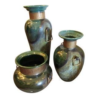 Green Glaze Raku Vases/Urns With Handles - Set of 3 For Sale