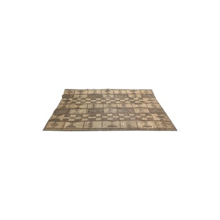 Small African Reed & Leather Floor Mat - 6′2″ × 9′5″