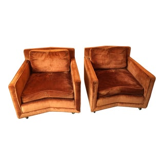 John Saladino for Baker Furniture Velvet Club Chairs - A Pair