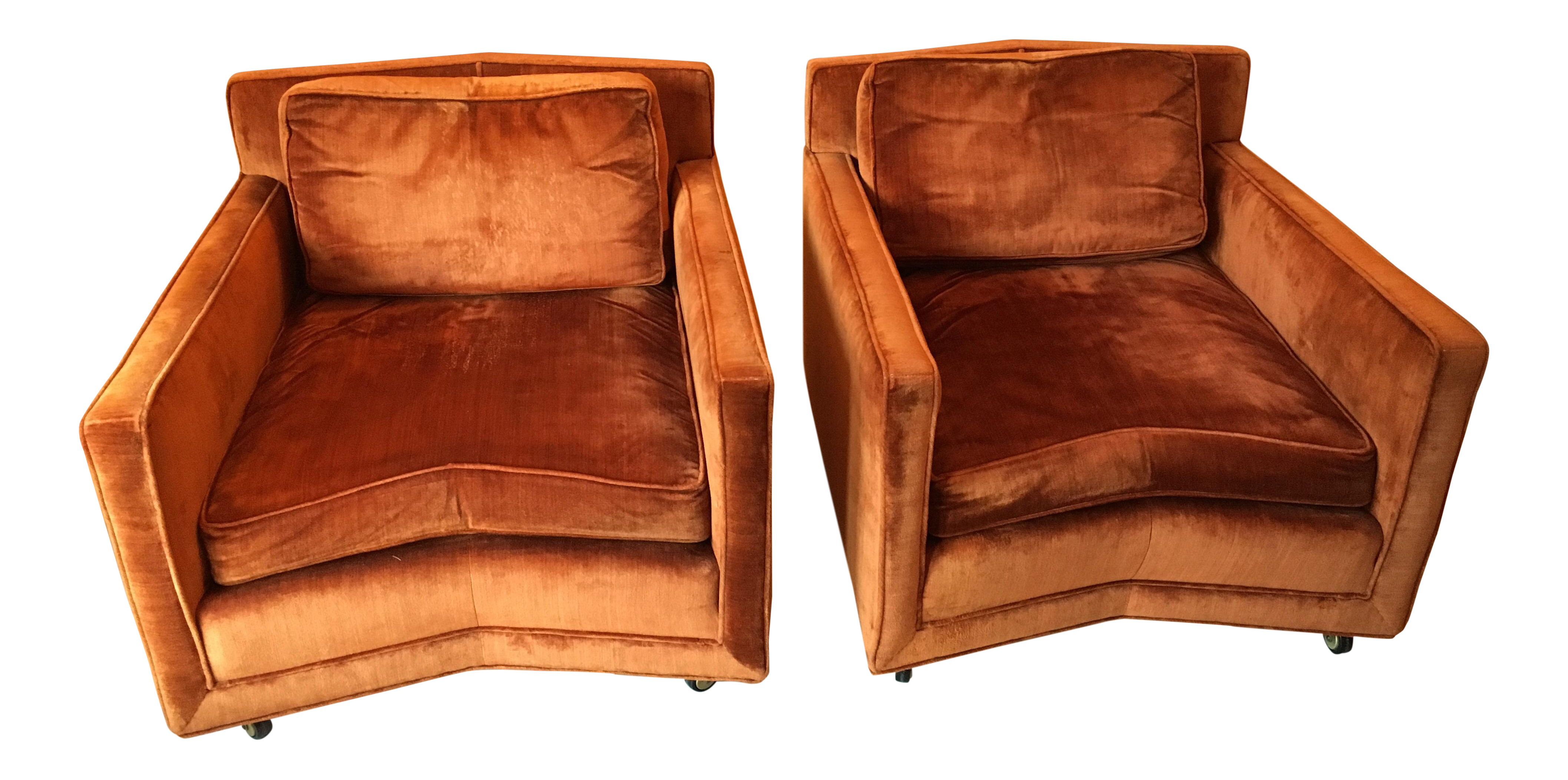 John Saladino For Baker Furniture Velvet Club Chairs   A Pair