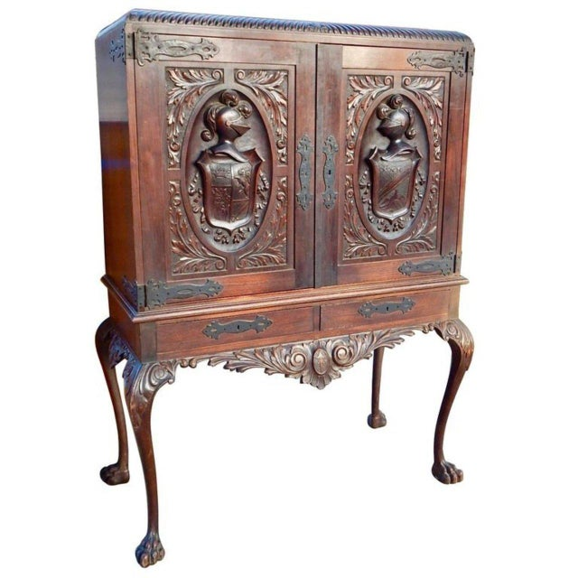 1920s Spanish Colonial Heraldic Theme Storage Cabinet For Sale - Image 11 of 11