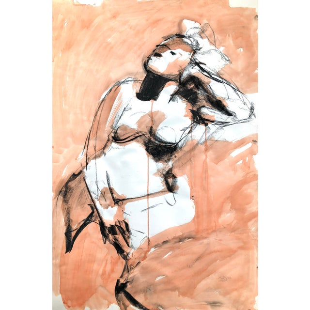 """Contemporary Figure Drawing in Orange and Black, """"Gloria Gesture in Orange"""" by David O. Smith For Sale"""