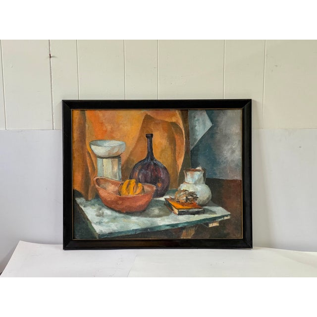 Mid-Century Modern Midcentury Still Life Oil Painting For Sale - Image 3 of 12
