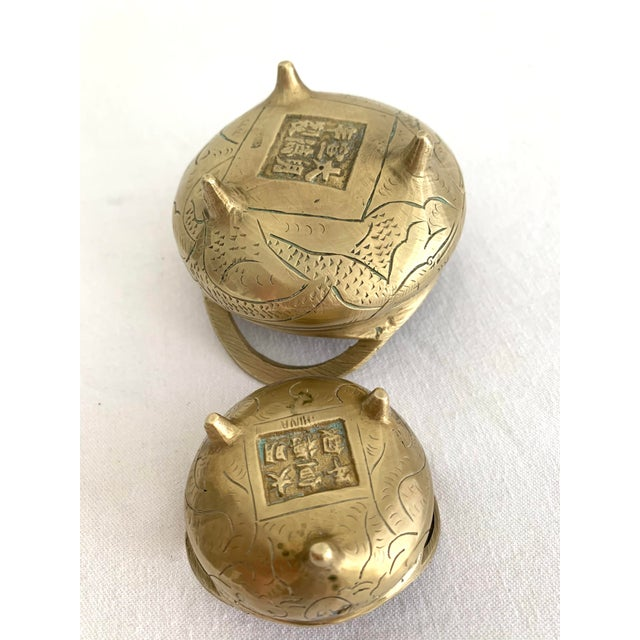 Vintage Chinese Brass Couldron Pots Set of 2 For Sale In Miami - Image 6 of 13