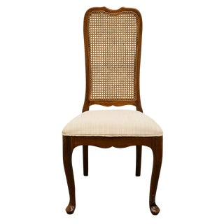 20th Century Traditional Davis Cabinet Solid Walnut Cane Back Dining Side Chair For Sale